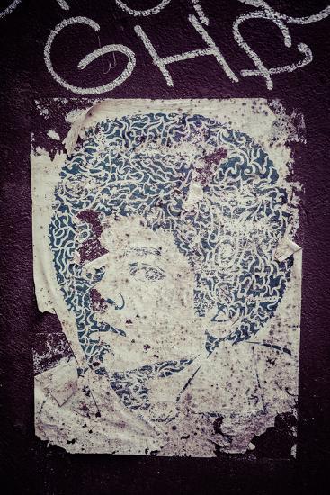 Williamsburg, Brooklyn, New York, USA, Afro, Poster, Streetart-Andrea Lang-Photographic Print