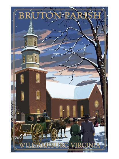 Williamsburg, Virginia - Bruton Parish in Snow-Lantern Press-Art Print