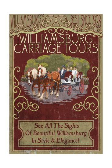 Williamsburg, Virginia - Carriage Tours Vintage Sign-Lantern Press-Art Print