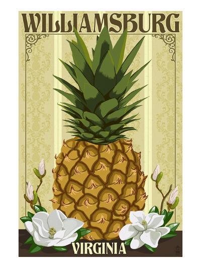 Williamsburg, Virginia - Colonial Pineapple-Lantern Press-Art Print
