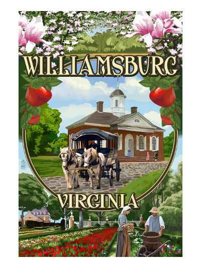 Williamsburg, Virginia - Montage Scenes-Lantern Press-Art Print