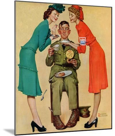 """""""Willie Gillis at the U.S.O."""", February 7,1942-Norman Rockwell-Mounted Print"""