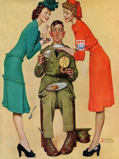 """""""Willie Gillis at the U.S.O."""", February 7,1942-Norman Rockwell-Giclee Print"""