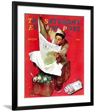 """""""Willie Gillis on K.P"""" Saturday Evening Post Cover, April 11,1942-Norman Rockwell-Framed Giclee Print"""