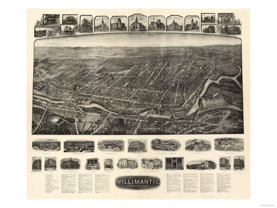 Willimantic, Connecticut - Panoramic Map-Lantern Press-Art Print