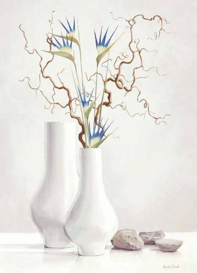 Willow Twigs with Blue Flowers-Karin Valk-Art Print