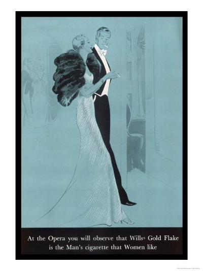 Wills's Gold Flake at the Opera, The Man's Cigarette That Women Like--Giclee Print