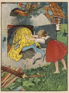 Gretel Seizes Her Opportunity and Pushes the Wicked Witch into the Oven by Willy Planck