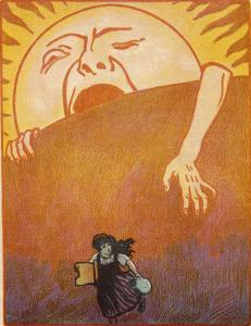 Little Girl Sets out to Find Her Seven Brothers and is Confronted by an Alarming Sunrise by Willy Planck