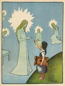Little Girl Sets out to Find Her Seven Brothers and Receives Help from an Angelic Lady by Willy Planck