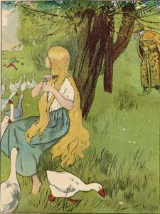 The Goose Girl Combs Her Long Blond Hair by Willy Planck