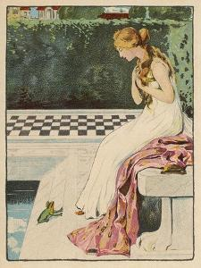 The Princess Discovers a Frog at Her Feet: Curiously He Too is Wearing a Crown by Willy Planck