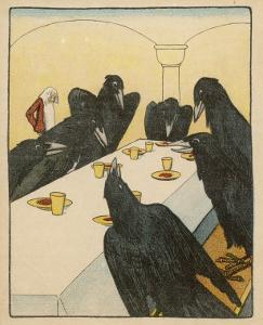 The Seven Ravens (Seven Brothers Transformed by a Wicked Spell) Sit at the Dinner Table by Willy Planck