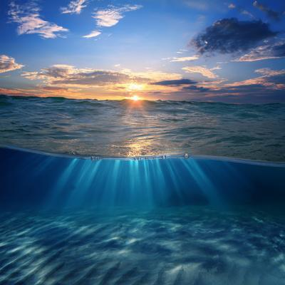 Abstract Design Template with Underwater Part and Sunset Skylight Splitted by Waterline