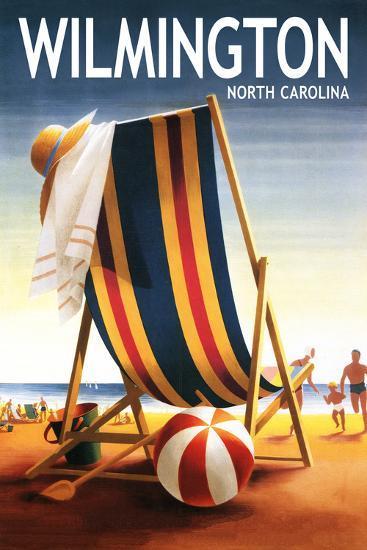 Wilmington, North Carolina - Beach Chair and Ball-Lantern Press-Art Print