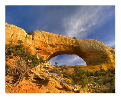 Wilson Arch with a span of 91 feet and height of 46 feet, made of entrada sandstone, Utah-Tim Fitzharris-Art Print