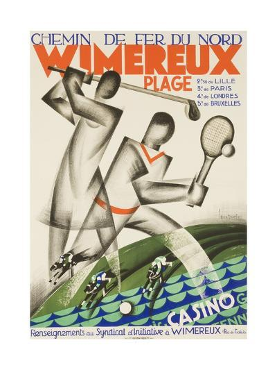Wimereux Plage French Railroad Travel Poster--Giclee Print