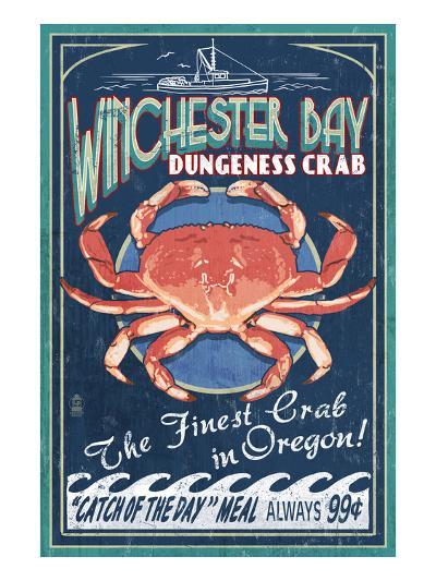 Winchester Bay, Oregon - Dungeness Crab-Lantern Press-Art Print