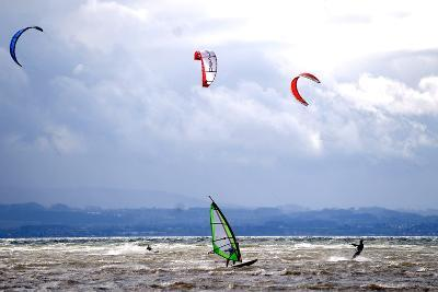 Wind and Kite Surfer Use the Trough of Low Pressure 'Emma' at the Lake Constance-Dietmar Stiplovsek-Photographic Print