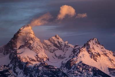 Wind And Snow Blow From The Highest Altitudes On The Grand Teton In Grand Teton NP, Wyoming-Mike Cavaroc-Photographic Print