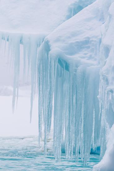 Wind and Water Sculpted Iceberg with Icicles at Booth Island, Antarctica, Polar Regions-Michael Nolan-Photographic Print
