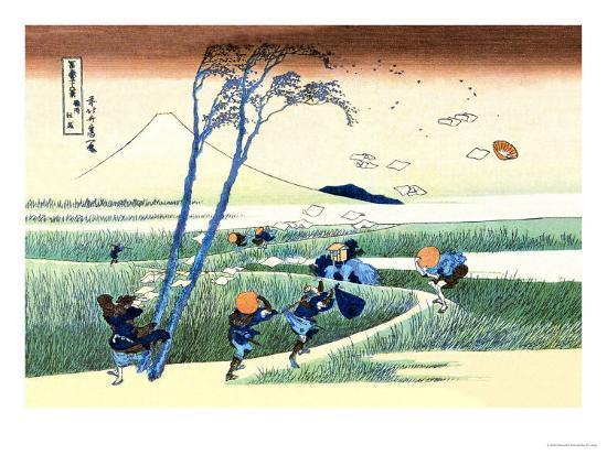 Wind Buffets Travelers in View of Mount Fuji-Katsushika Hokusai-Art Print