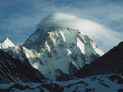 Wind Cloud over the Summit of K2, 2nd Highest Peak in the World, Karakoram Mountains, Pakistan-Colin Monteath/Minden Pictures-Photographic Print