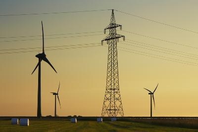 Wind Energy Plant and Power Pole-Frank Krahmer-Photographic Print