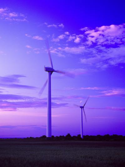 Wind Farm at Dusk, Oland, Sweden--Photographic Print