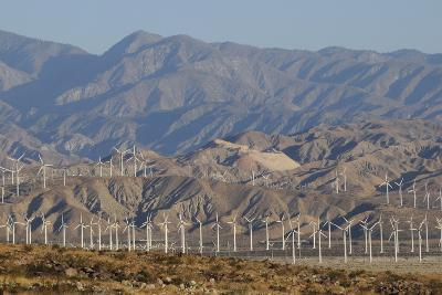 Wind Turbines and Mountains of Morongo Valley, San Gorgonio Pass, Palm Springs--Photographic Print