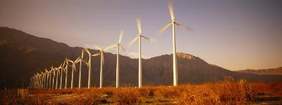 Wind Turbines in a Row, Palm Springs, California, USA--Photographic Print