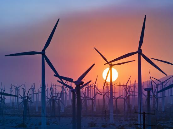 Wind Turbines Near Palm Springs, California, at Sunset-David Nunuk-Photographic Print
