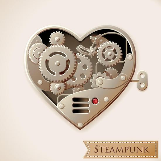 Wind Up Metal Steampunk Heart With Gears-Cyborgwitch-Art Print