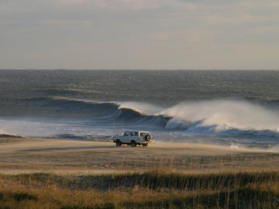 Wind, Waves and Fisherman in an Suv on a Beach in the Outer Banks-Skip Brown-Photographic Print