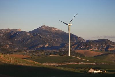 Windfarm Amidst Farmland Near Ardales, Andalucia, Spain--Photographic Print