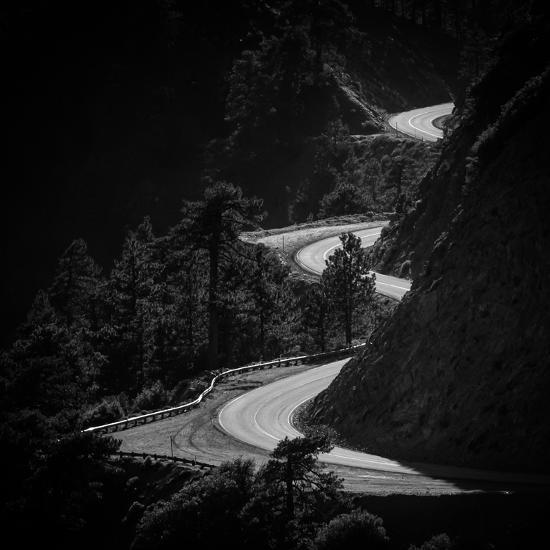 Winding Mountain Road in Black and White-Bryce Eilenberg-Photographic Print