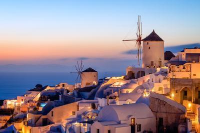 Windmill and Traditional Houses, Oia, Santorini (Thira), Cyclades Islands, Greek Islands-Karen Deakin-Photographic Print