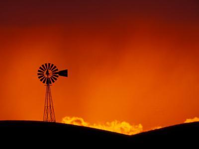 Windmill at Sunset, Palouse Region, Washington, USA-Art Wolfe-Photographic Print