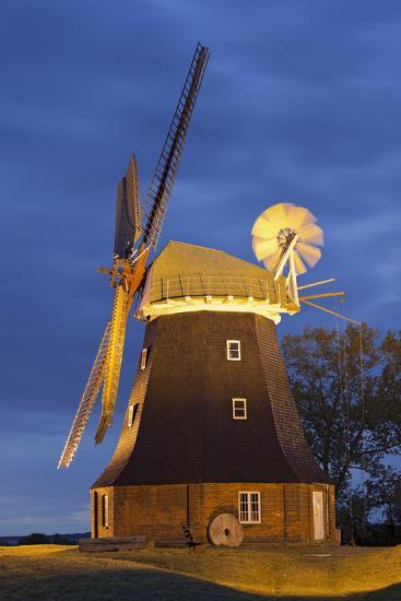 Windmill by Stove, Mecklenburg-Western Pomerania, Germany-Rainer Mirau-Photographic Print