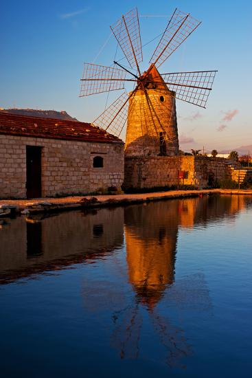 Windmill by the Old Saltwork Layout in Seaport Trapani, Sicily, Italy-Thomas Ebelt-Photographic Print