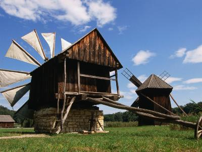 Windmill from Constanta County at Museum of Folk Civilisation in Astra, Sibiu, Romania,-Diana Mayfield-Photographic Print