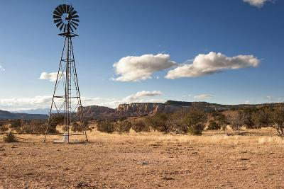 Windmill in New Mexico Landscape-Sheila Haddad-Photographic Print