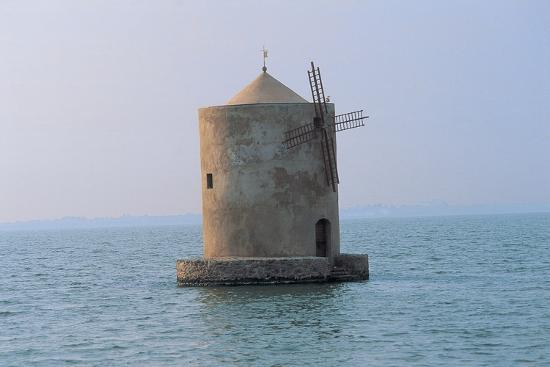 Windmill in the Sea, Orbetello Lagoon, Tuscany, Italy--Photographic Print