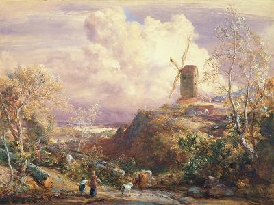 Windmill on a Hill with Cattle Drovers-John Constable-Giclee Print
