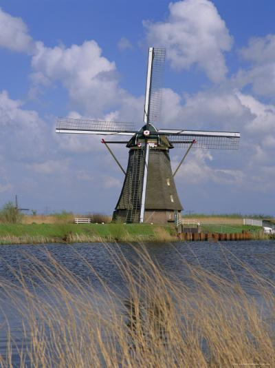 Windmill on the Canal, Kinderdijk, Unesco World Heritage Site, Holland (The Netherlands), Europe-Gavin Hellier-Photographic Print