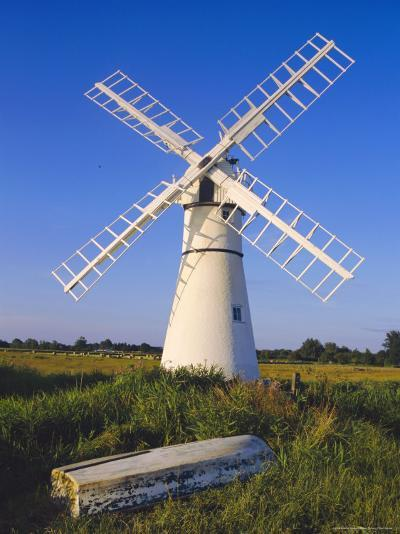 Windmill on Thurne Broad, Norfolk, England-Charles Bowman-Photographic Print