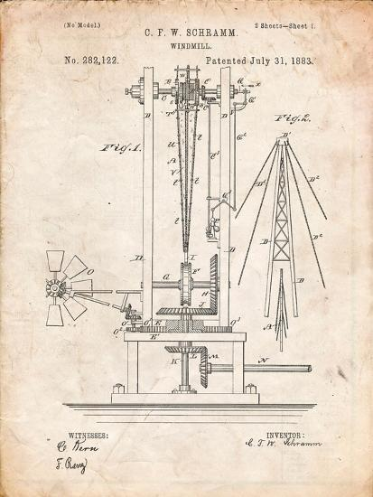 Windmill Patent-Cole Borders-Art Print