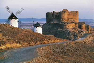 Windmills Along Road of Don Quixote at Consuegra with La Muela Castle in Background--Photographic Print