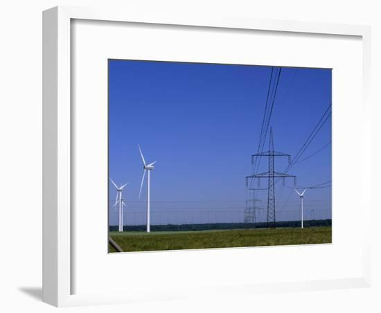 Windmills and High Voltage Transmission Lines in a Clear Blue Sky, Mecklenburg-Vorpommern, Germany-Norbert Rosing-Framed Photographic Print