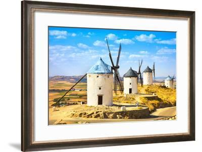 Windmills of Don Quixote in Consuegra. Castile La Mancha, Spain-stevanzz-Framed Photographic Print